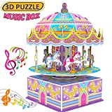 GBD 3D Carousel Puzzle for Kids,Whirligig Jigsaw Music Box DIY Building Model Brain Teasers Early Learning Educational Game for Kids Girls Boys Toys Christmas Birthday Gifts-29 Pcs