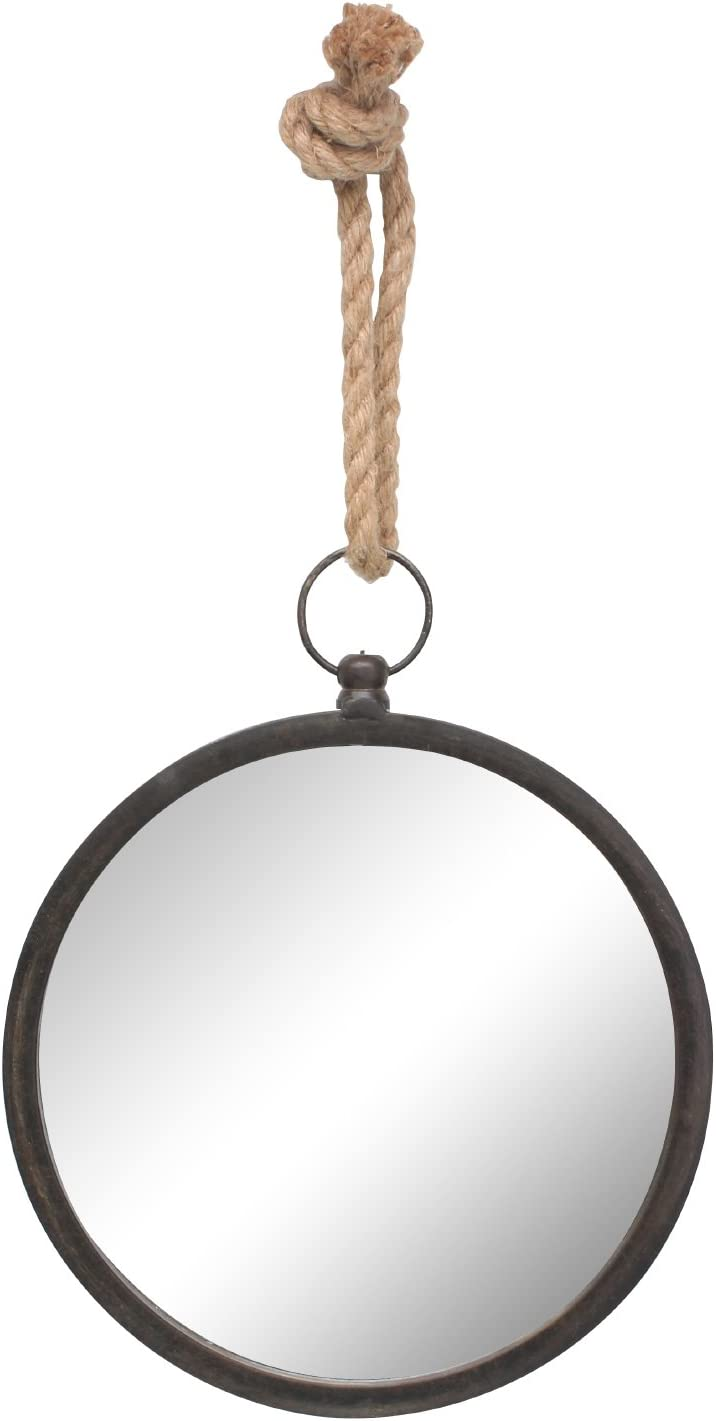 Stonebriar Round Nautical Mirror for Wall with Hanging Loop, Unique Home Décor for Bathroom, Bedroom, Office, or Hallway, Small