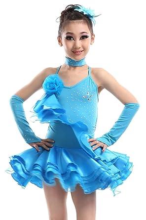 KINDOYO Practican LA Ropa Vestido De Baile Latino Salsa De Girls Niñas
