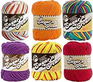 Variety Assortment Lily Sugar'n Cream Yarn 100% Cotton Solids and Ombres (6-Pack) Medium #4 Worsted Bundle