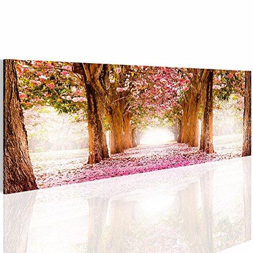 Bilder SENSATIONSPREIS !!! - Bild 110x40 cm - !!! MADE IN GERMANY !!! Wandbild - 3 Farben zur Auswahl - XXL Format - Fertig Aufgespannt - TOP Vlies Leinwand - Kunstdruck - Park Blumenweg Natur Rosen Blumen - 605611a -