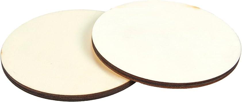 Rebanadas de c/írculo de madera para decoraciones Piezas de madera sin terminar de c/írculo de madera de 2 mm de espesor y Esponja de lijado - 3.5 cm Discos de madera manualidades paquete de 100