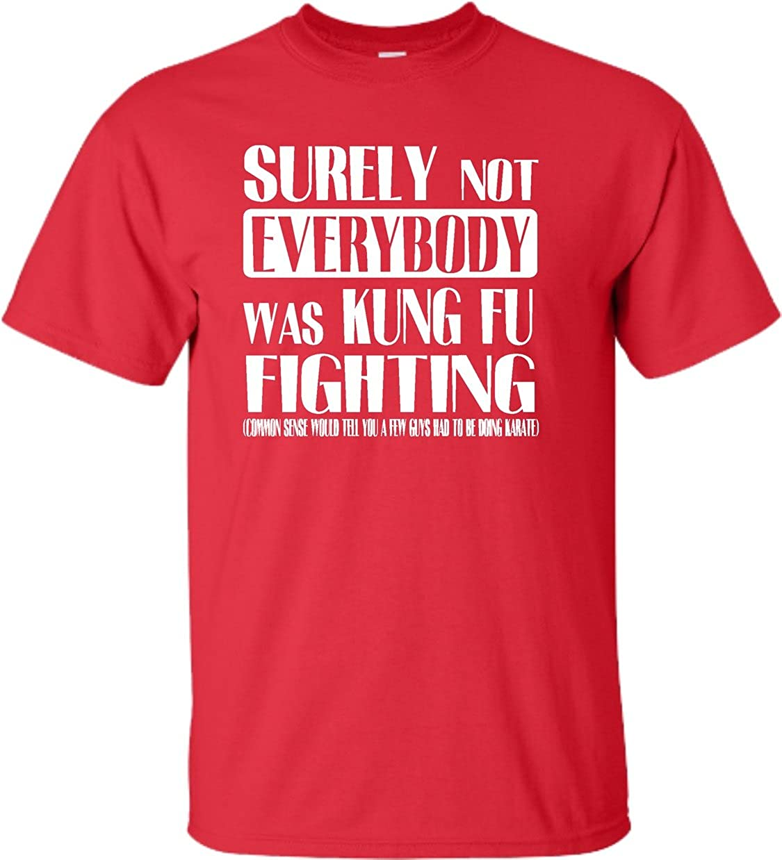 9837a9dcf Amazon.com: YL 14-16 Red Youth Surely Not Everybody was Kung Fu Fighting T- Shirt: Clothing