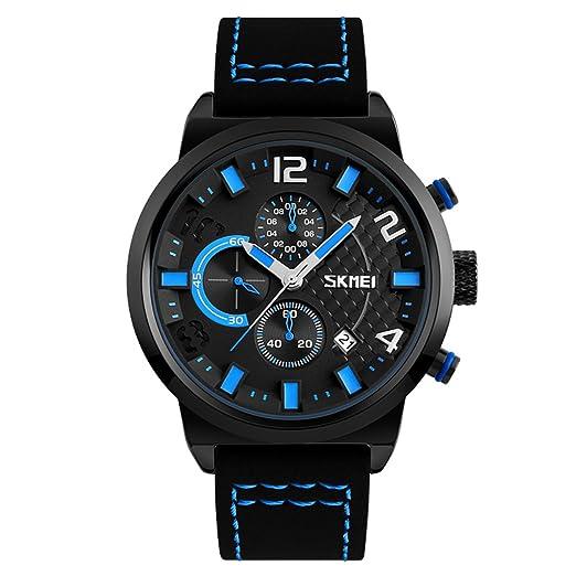 decente cara azul reloj de cuarzo de los hombres de alta gama fecha de cinturón de cuero negro reloj con tres sub marca reales: Amazon.es: Relojes