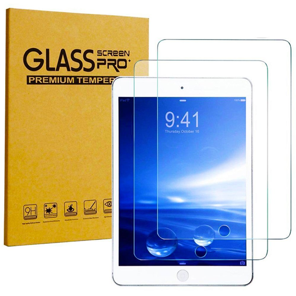 [2 Pack] KIQ iPad 9.7 2017 5th Gen Tempered Glass Screen Protector, 9H Hard Tough 0.30mm Bubble-Free Anti-Scratch Self-Adhere Easy-to-Install Clear Invisible for Apple iPad 9.7 2017 (5th Generation)