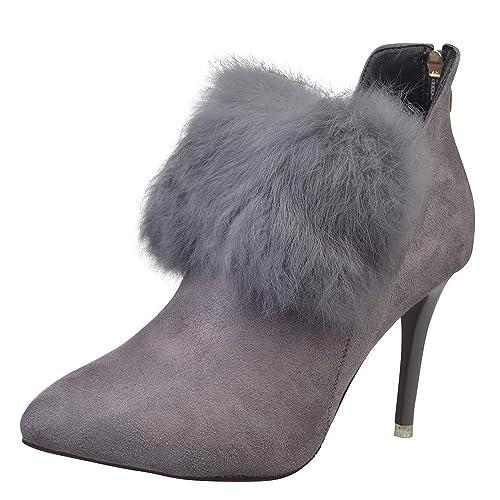 QinMM Mujeres Bombas de Tacones Altos Botas Peludos Punta Estrecha Zapatos Vestido de Fiesta de la Boda del Estilete Botines Cortos Invierno otoño: ...
