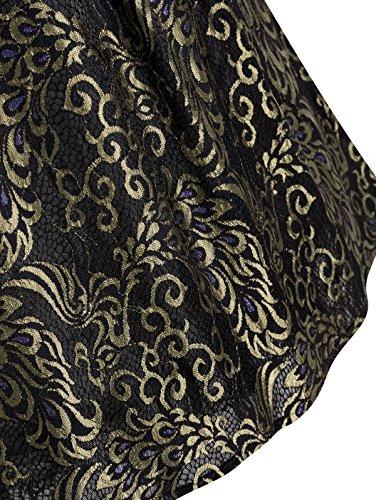 HUINI Rtro Annes 50 Robe Dentelle Manches Courtes Vintage Robe Grande Taille Femme Cocktail Robe Crmonie  Fleurs A-Line Or