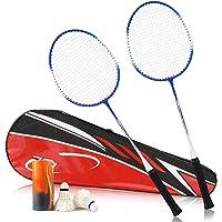 XYZLEO Raquetas Badminton Adultos Badminton Juguete 1 Cuerpo AleacióN Estable Oval Marco Raquetas De BáDminton Antideslizante Resistente Al Desgaste Juego De BáDminton