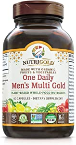 Nutrigold Organic One Daily Men's Multivitamin Supplement, Whole Food One a Day Vitamins and Minerals for Men, 60 Capsules