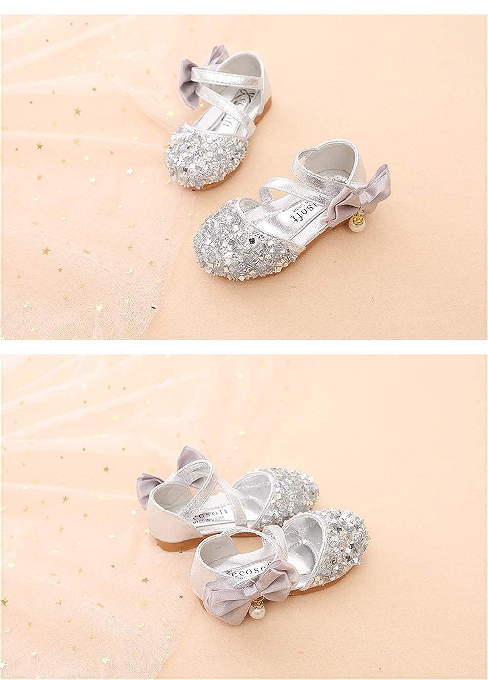 MaxTide Low Heel Sandals for Girls Light Blue Toddler Wedding Dress Shoes Size 11 Princess Sequin Little Girls Cute Rhinestone