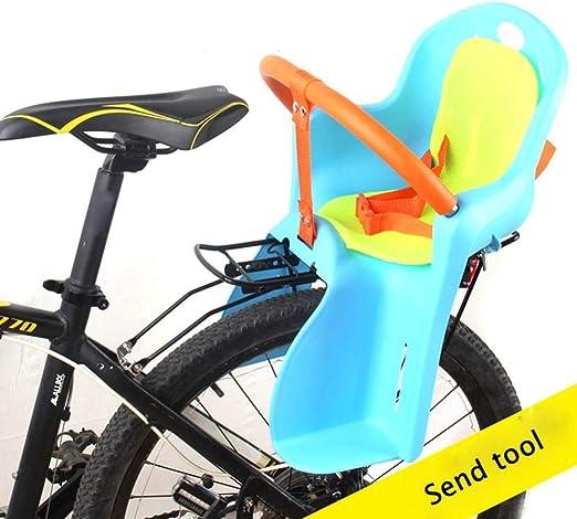 wangt Asiento De Bicicleta para Bebé Seguro Bicicleta Asiento Trasero para Niño Asiento De Bebé Marco De Bicicleta Asiento Ajustable para Niños De 2.5-5 Años,Blue: Amazon.es: Hogar