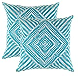 turquoise throw pillow  Decorative Square Throw Pillow Covers Set Kaleidoscope Accent 100% Cotton Cushion Cases Pillowcases (18 x 18 Inches / 45 x 45 cm; Turquoise & White) - Pack of 2