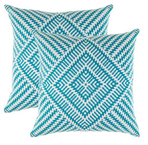 Decorative Square Throw Pillow Covers Set Kaleidoscope Accent 100% Cotton Cushion Cases Pillowcases (18 x 18 Inches / 45 x 45 cm; Turquoise & White) - Pack of 2
