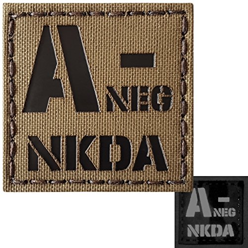 Coyote Brown Infrared IR ANEG NKDA A- Blood Type 2x2 Tan Arid Tactical Morale Touch Fastener Patch