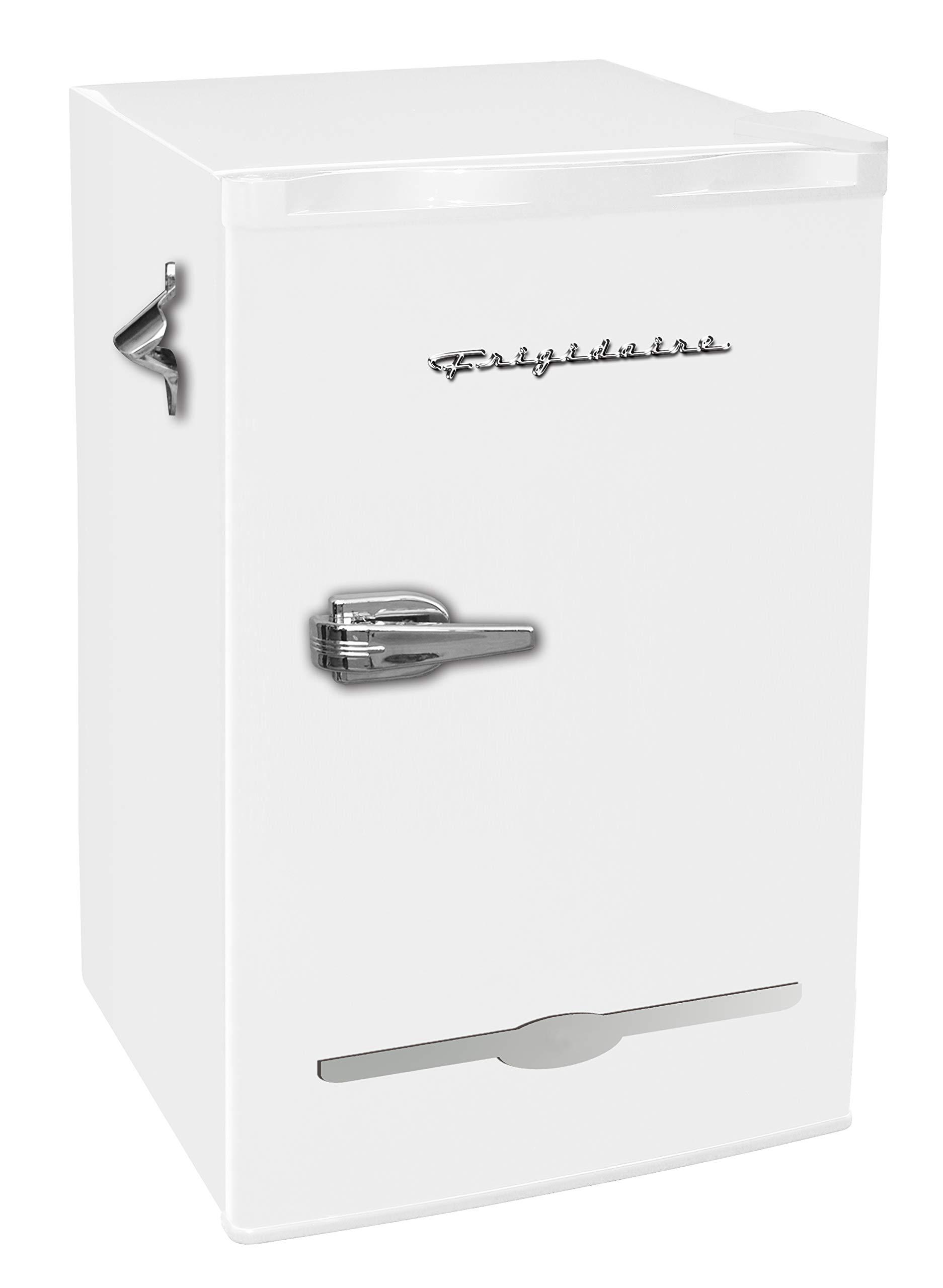 Frigidaire EFR376-WHITE 3.2 Cu Ft White Retro Bar Fridge with Side Bottle Opener