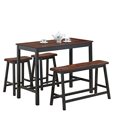 Costway 4 Piece Solid Wood Dining Table Set Counter Height Dining Furniture With One Bench And Two Saddle Stools Modern Style With Foot Pads Ideal