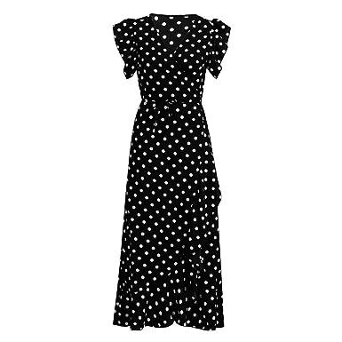 95159c980a1e BAOHOKE Summer High Split Women s Polka Dots V Neck Sleeveless Maxi Dresses
