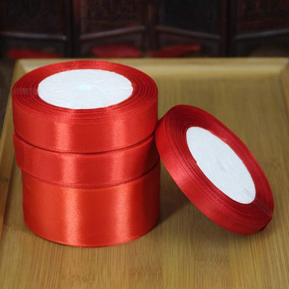 XSM Tissu Bord Ruban en Mousseline De Soie Organza Filaire Ruban 25mm Ruban en Mousseline De Soie DIY Fournitures De Mariage pour La D/écoration De Noce 45 m Rouge