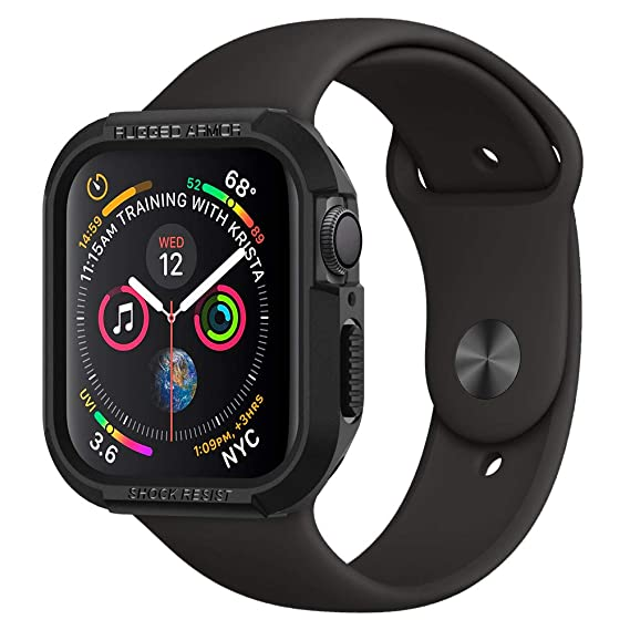 new arrival dcb73 4e00f Spigen Rugged Armor Works with Apple Watch Case for 44mm Series 4 (2018) -  Black