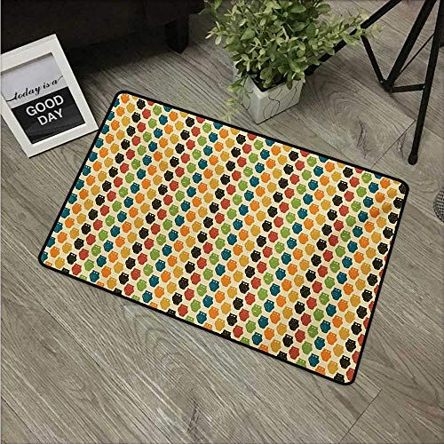 Anzhutwelve Owls,Cute doormats Retro Styled Colorful Animal Silhouettes with Grunge Display Halloween Inspirations W 24