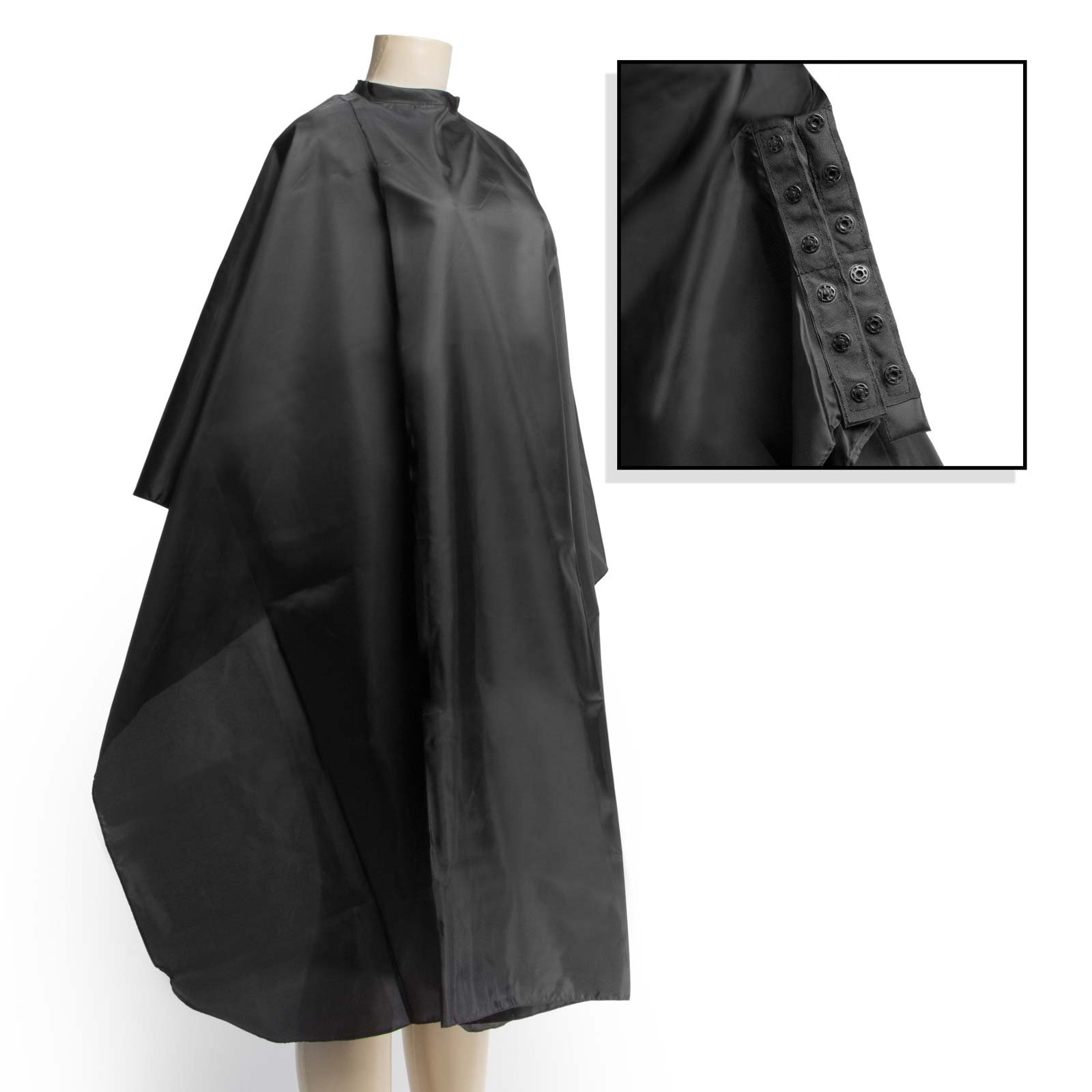 "Salon Sundry Professional Hair Salon Nylon Cape with Snap Closure - 50"" x 60"" Black"