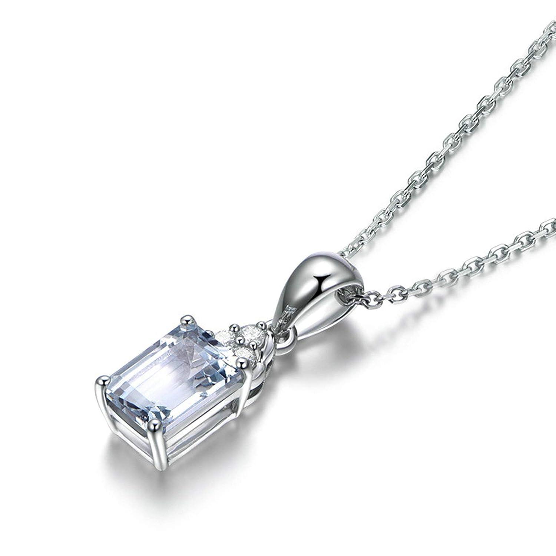 Beydodo 925 Sterling Silver Necklace Grandma Blue Emerald Topaz Pendant Wedding Necklace Hypoallergenic