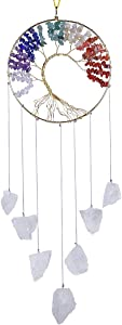 SUNYIK Tree of Life Raw Stone Wind Chimes Outdoor Indoor, Handmade 7 Chakra Stone Healing Crystal Wall Hanging Ornament Decoration for Home Office, Rock Quartz