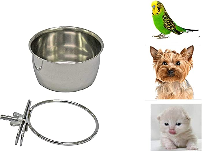 Pet Dog Stainless Steel Coop Cups with Clamp Holder - Detached Dog Cat Cage Kennel Hanging Bowl,Metal Food Water Feeder for Small Animal Ferret Rabbit (Small)