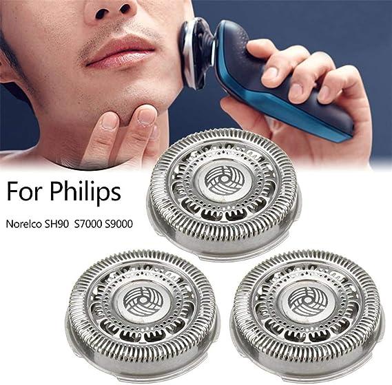 3Pcs Cabezal de Recambio para Philips Afeitadoras Eléctricaspara,para Philips Norelco SH90 S7000 S9000,Accesorios para afeitadora eléctrica Máquina Eléctrica Cabeza ...