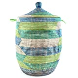 Large Green & Blue African Laundry Basket with Lid