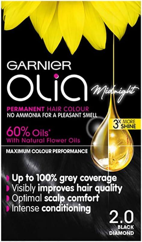 Tinte para el cabello negro Garnier Olia permanente, hasta 100% cobertura de cabello gris, sin amoníaco para un aroma agradable, 60% aceites – Olia ...