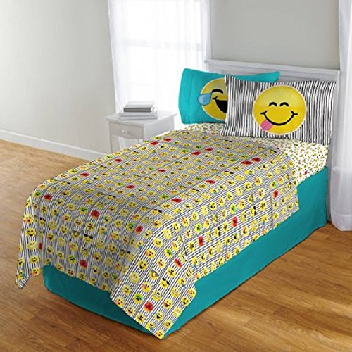 5 Piece Kids Black Yellow Fun Emoji Themed Comforter Full Set, All Over Pretty Cute Funny Emotions Print, Happy, Sad, Love, Silly, Emoji Reversible Bedding, Vertical lines Background, For Girls/Teen by D&H