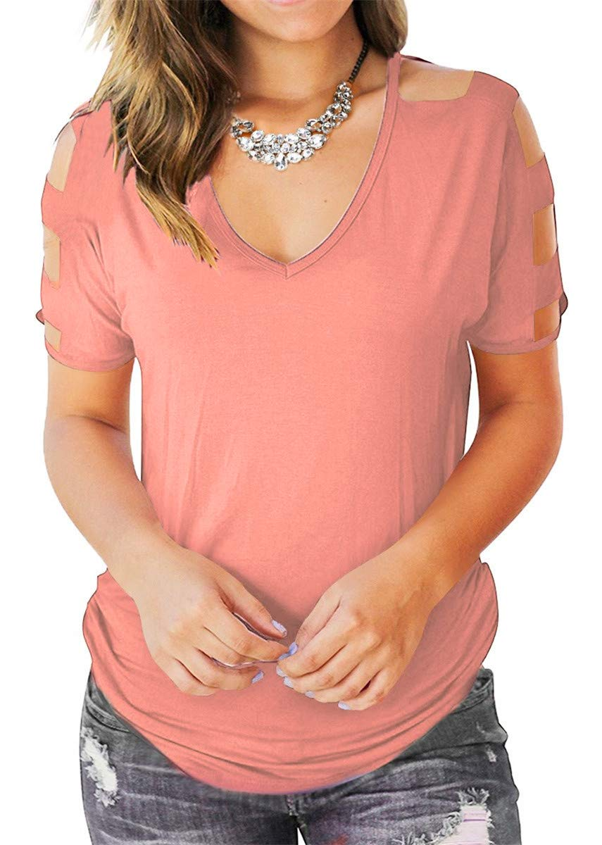 Eanklosco Womens Summer Short Sleeve Cold Shoulder Tops V Neck Basic T Shirts (Pink, L)