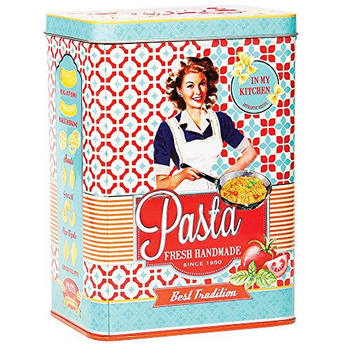 Collectible Container Decorative Tin - Vintage 6 Inch Tin Pasta Box w/ Retro Style Graphics Rolled Edges & Snug Lid
