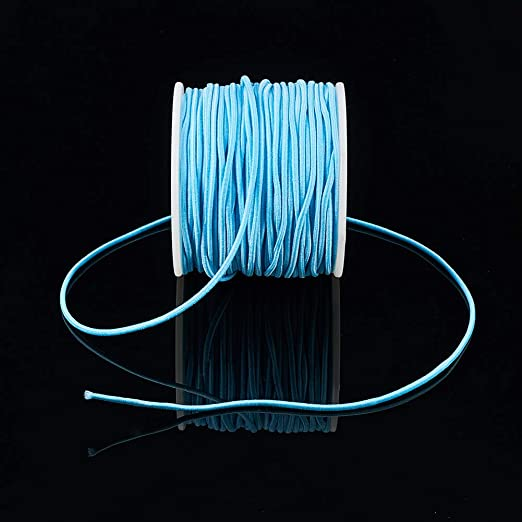 BENECREAT 50m 2mm Cord/ón El/ástico Hilo de Nylon de Rebordear Tela Hilo para Cuentas Pelo y Manualidad Rosa Profundo