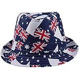 fde3021952cc6 La Vogue Unisex Kids Beach Trilby Fedora Hat Printed Jazz Costume Cap Union  Jack