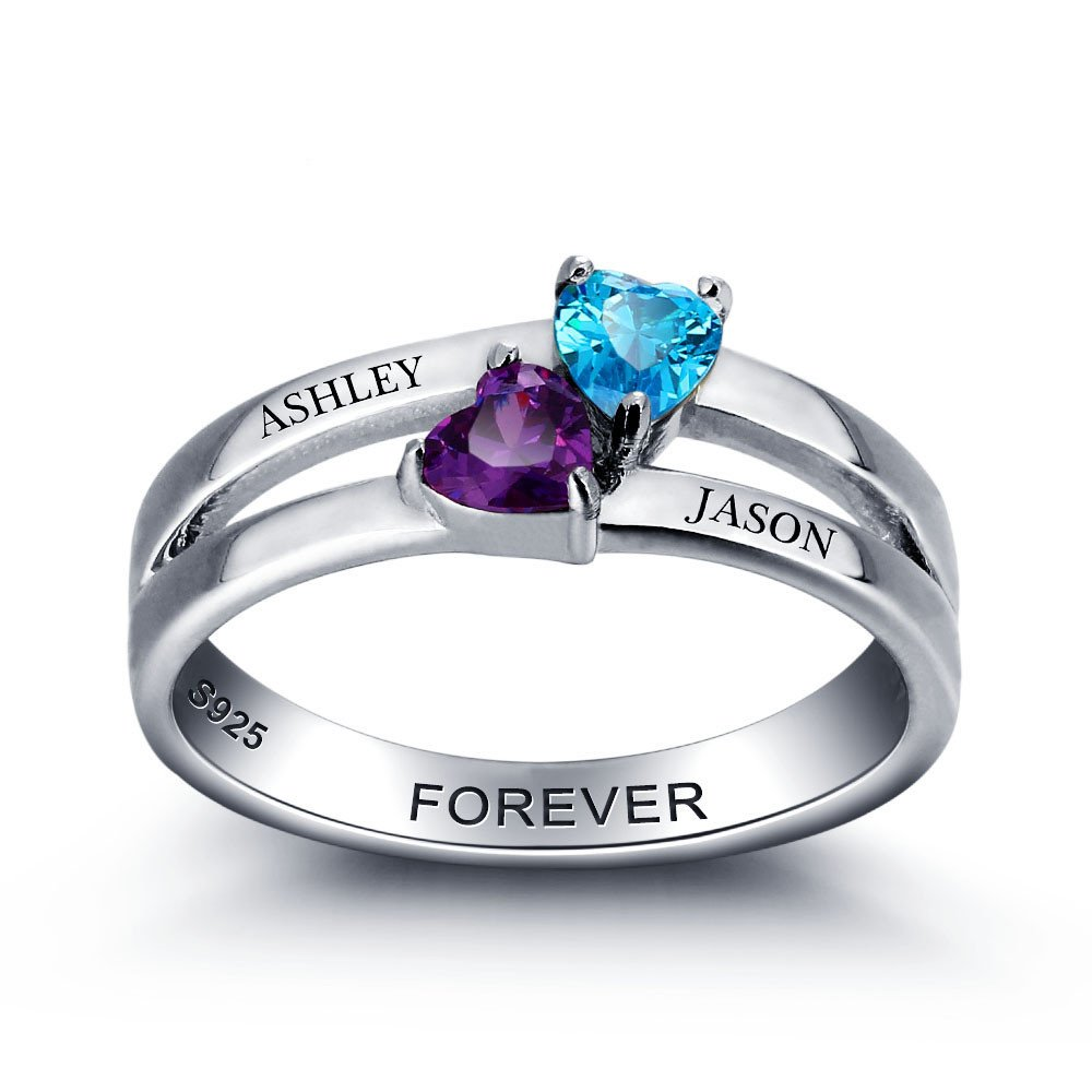 Couples engagement promise rings for her 2 birthstone rings for mother daughter rings personalized jewelry gift for women