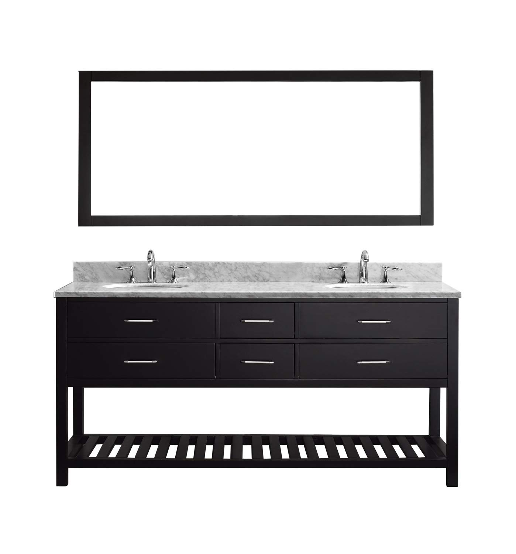 Remarkable Virtu Usa Caroline Estate 72 Inch Double Sink Bathroom Vanity Set In Espresso W Round Undermount Sink Italian Carrara White Marble Countertop No Home Interior And Landscaping Eliaenasavecom