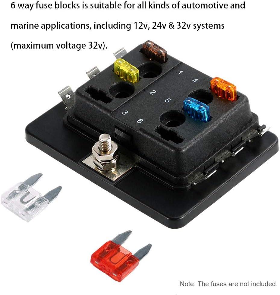 NBVNBV Mini Blatt Sicherungskasten Halter 12V 24V 6 Weg Sicherungshalter mit Schutzh/üLle APM ATM Sicherungen 5A 10A 25A f/ür KFZ Auto Boot Marine Dreirad