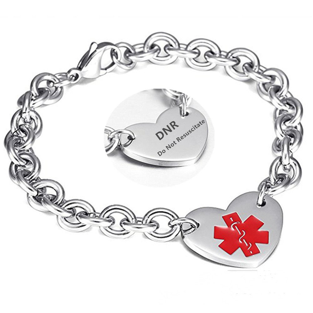 LF 316L Stainless Steel DNR Engraved Medical Alert Heart Charm Link Bracelet Rolo Chain Medic ID Bracelets Monitoring Awareness for Womens for Outdoor Emergency,Do Not Resuscitate