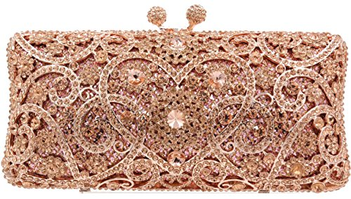 (Crystal clutch purse Rose Gold bag Bridal Eveninng Special event)