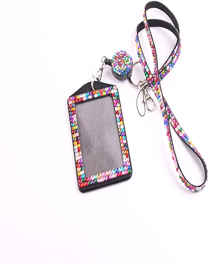 Bling Crystal ID Card Holder with Bling Badge Holder Pack of 10 Ascrafter ID Card Lanyard Strap