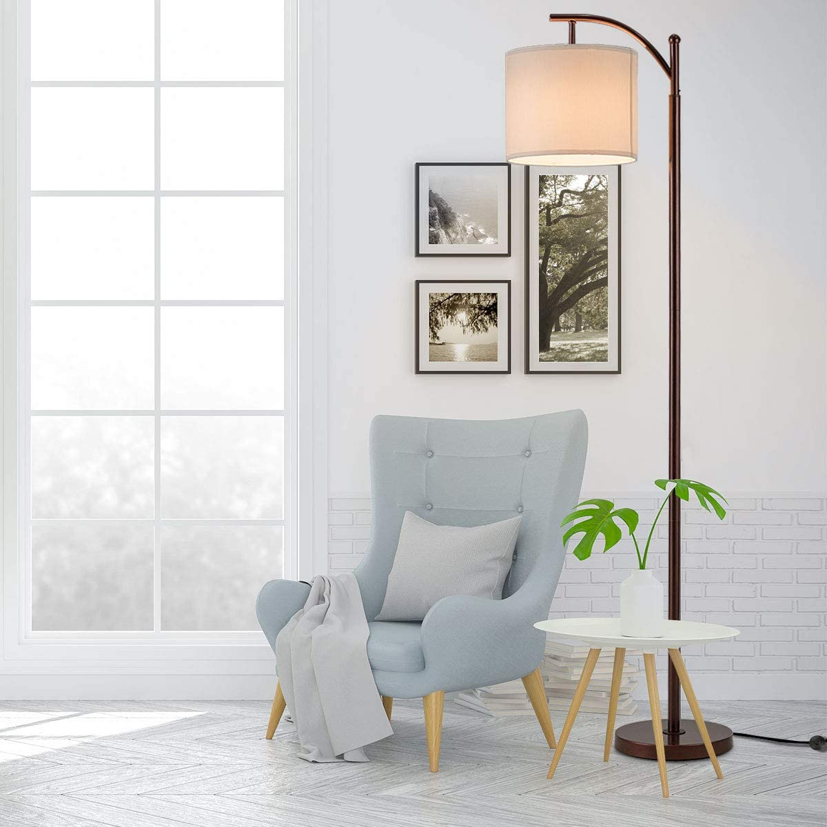 Tangkula Floor Lamp, Classic Standing Industrial Arc Light with Hanging Lamp Shade, Tall Pole Uplight with E26 Lamp Holder, Modern Floor Lamp for Bedroom Office Study Room Living Room Red Copper