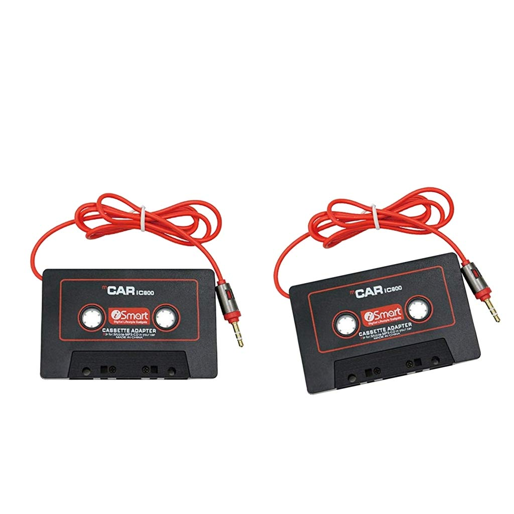 kesoto 2Pcs Black in Car Audio Cassette Tape Adapter with Aux Cable Cord 3.5mm Jack for to MP3//4 iPod iPhone