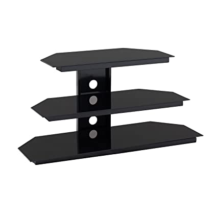 Amazon Com Furniture Hotspot 3 Tier Black Glass Tv Stand Black