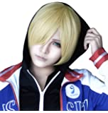 ANOGOL Hair Cap+ Golden Short Straight Cosplay Wig Anime Wigs for Costume Party Hair