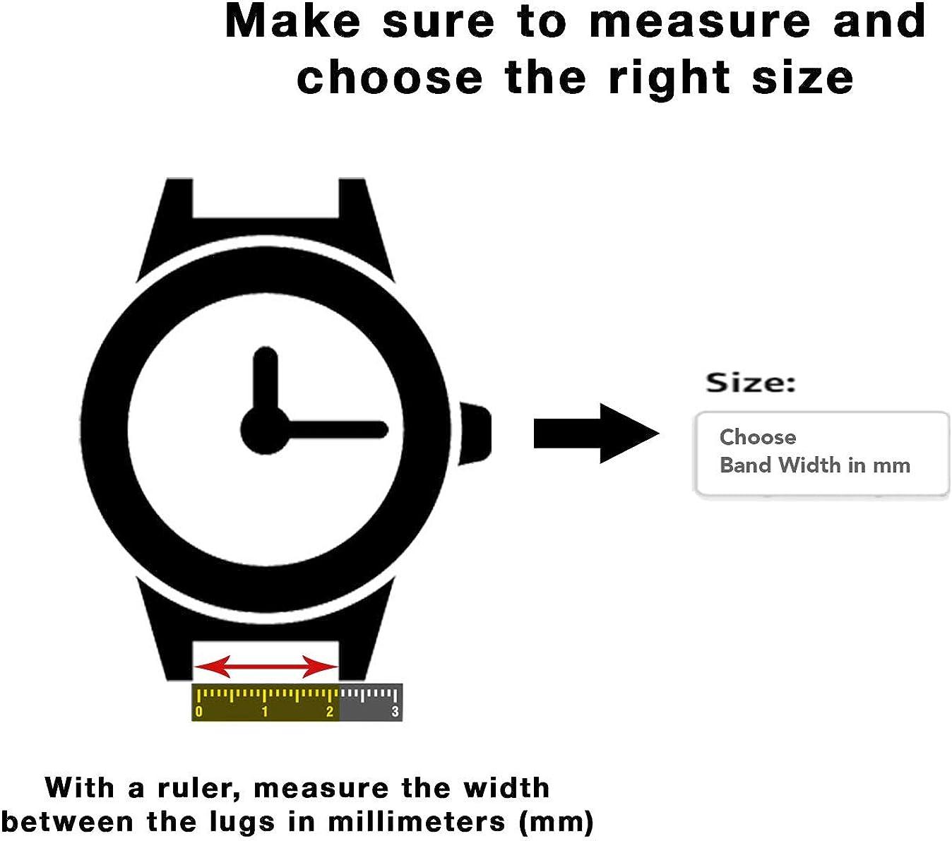 6mm- 20mm (aussi disponible en extra long, XL) Bracelet de montre en cuir véritable, marron ou noir Noir / Boucle Dorée