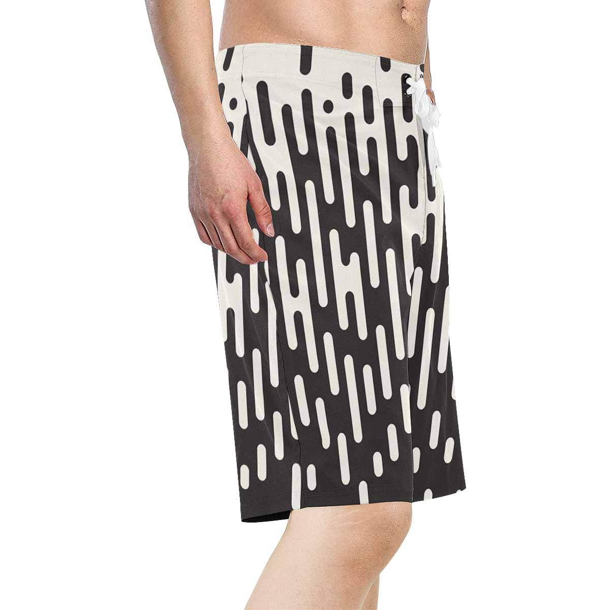 XS-6XL INTERESTPRINT Mens Swim Trunks Black White Round Quick Dry Beach Water Shorts
