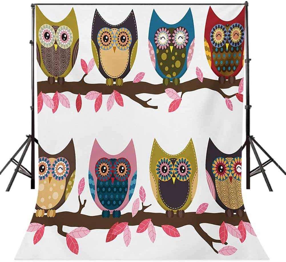 Owls 10x15 FT Backdrop Photographers,Group of Owls Cute Facial Expressions Winking Smiling Vintage Scrapbooking Retro Art Background for Child Baby Shower Photo Vinyl Studio Prop Photobooth Photoshoot
