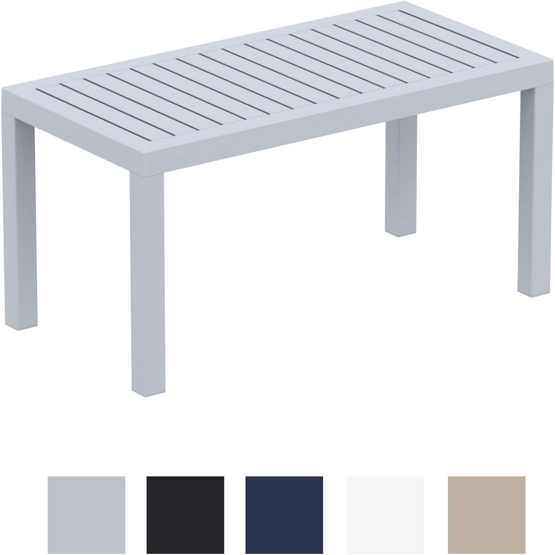 CLP Mesa Lounge Ocean Moderna I Mesa De Jardín Impermeable I Mesa De Plástico Resistente A Los Rayos UV I Mesa De Exterior Robusta I Color: Gris